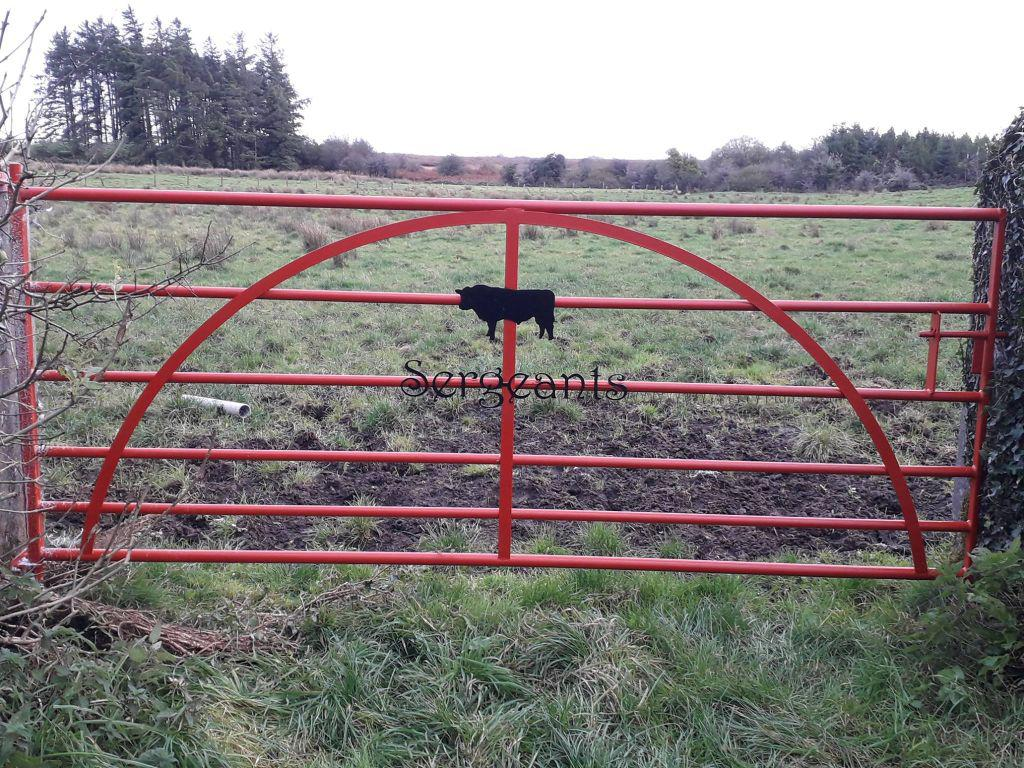 Red Traditional field gate with Bull silhouette.