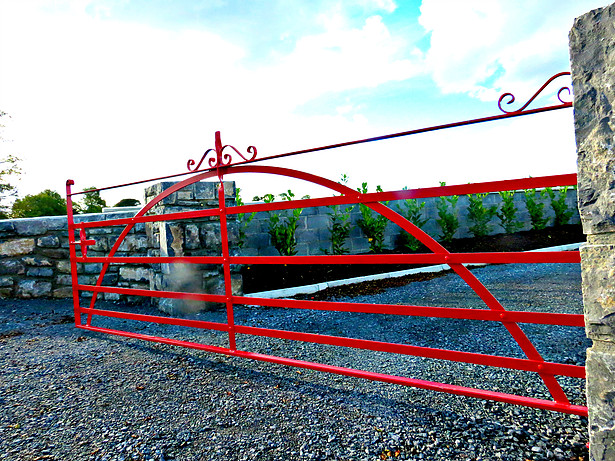 Single gate, finished in red, curved brace, note rivet detail, Ardrathan, Co Galway