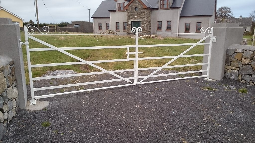 Set of gates inverted braces finished in White, Four Roads, Co Roscommon