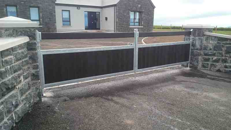 Steel framed gate with recycled plastic, 'Roscrea style'. Galvanised frame with black tongued and grooved boards, Tooreen, Co Mayo