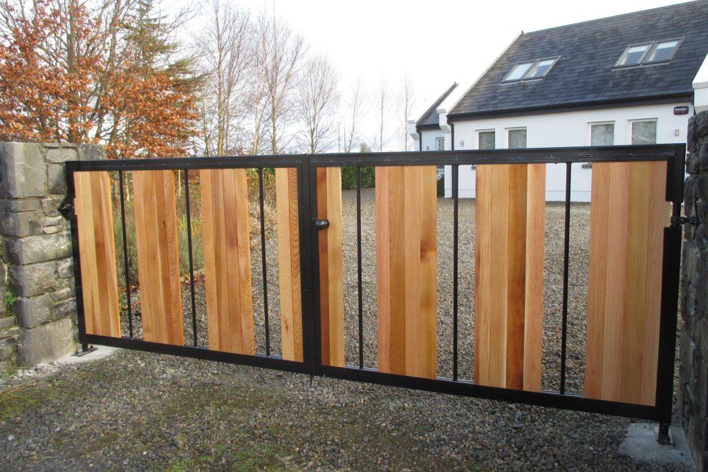 Cedar board gate with steel frame, finished in black. Kinvara, Co Galway