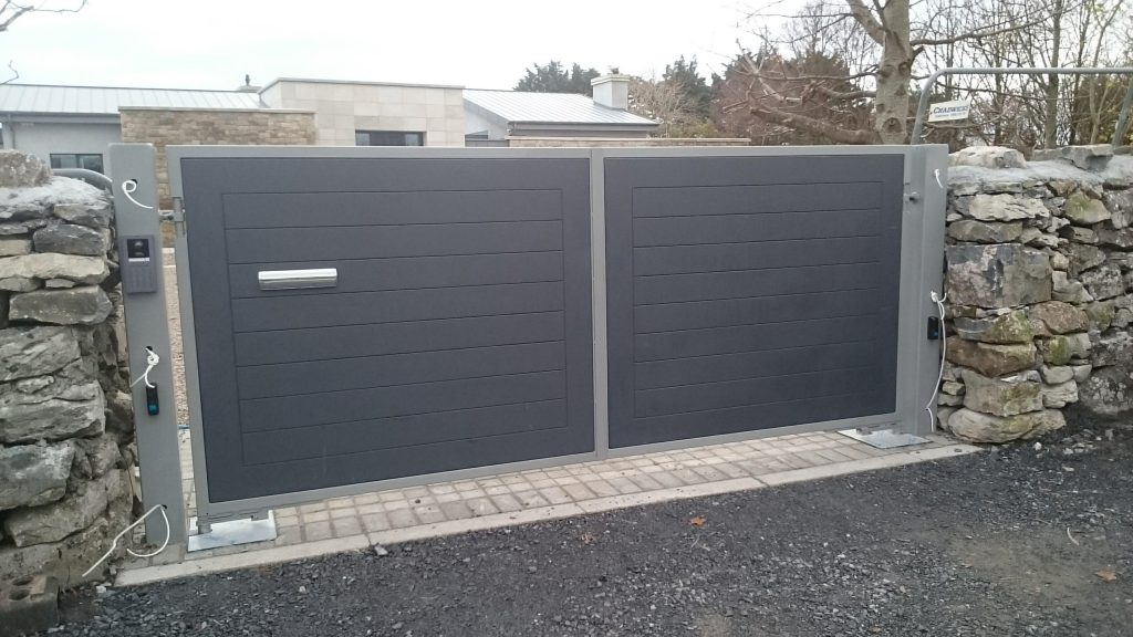 Medite exterior MDF in a steel frame, Finished in grey, Oranmore, Co Galway