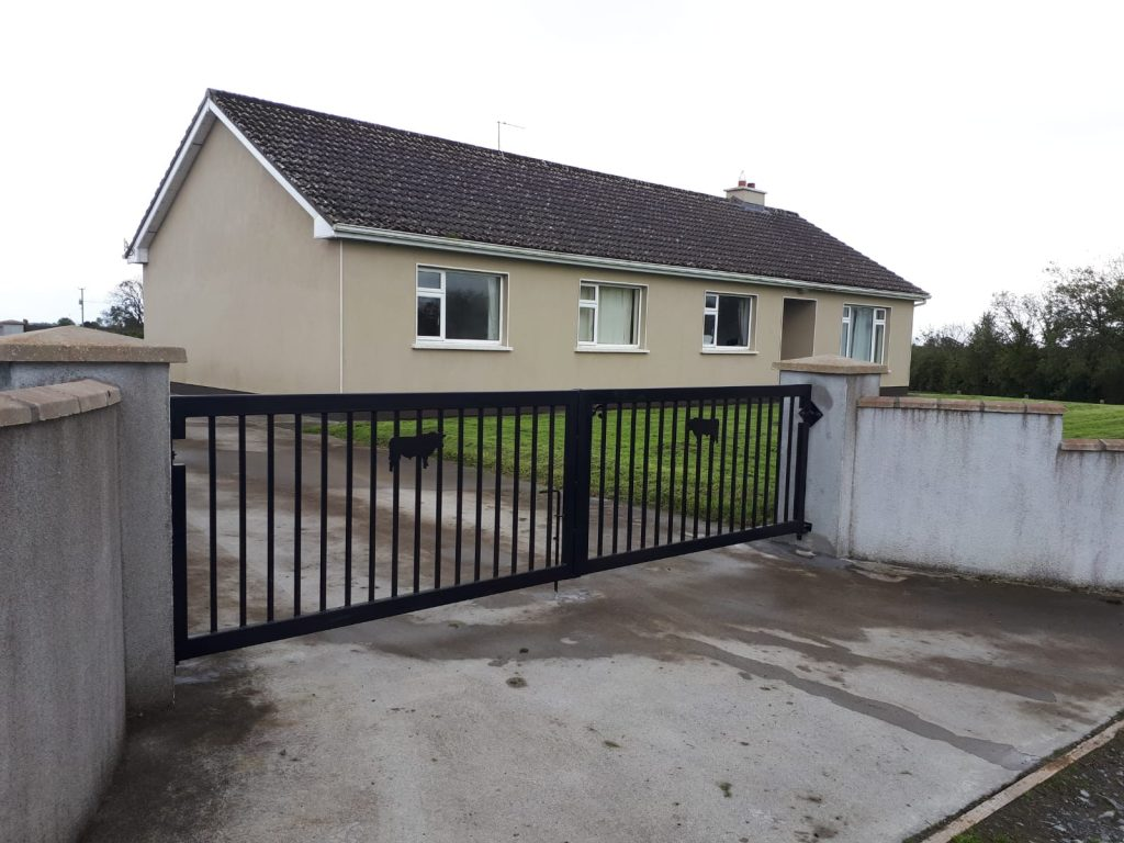 Thick framed set of gates, Bull silhouette, finished in black, Bullaun, Co Galway