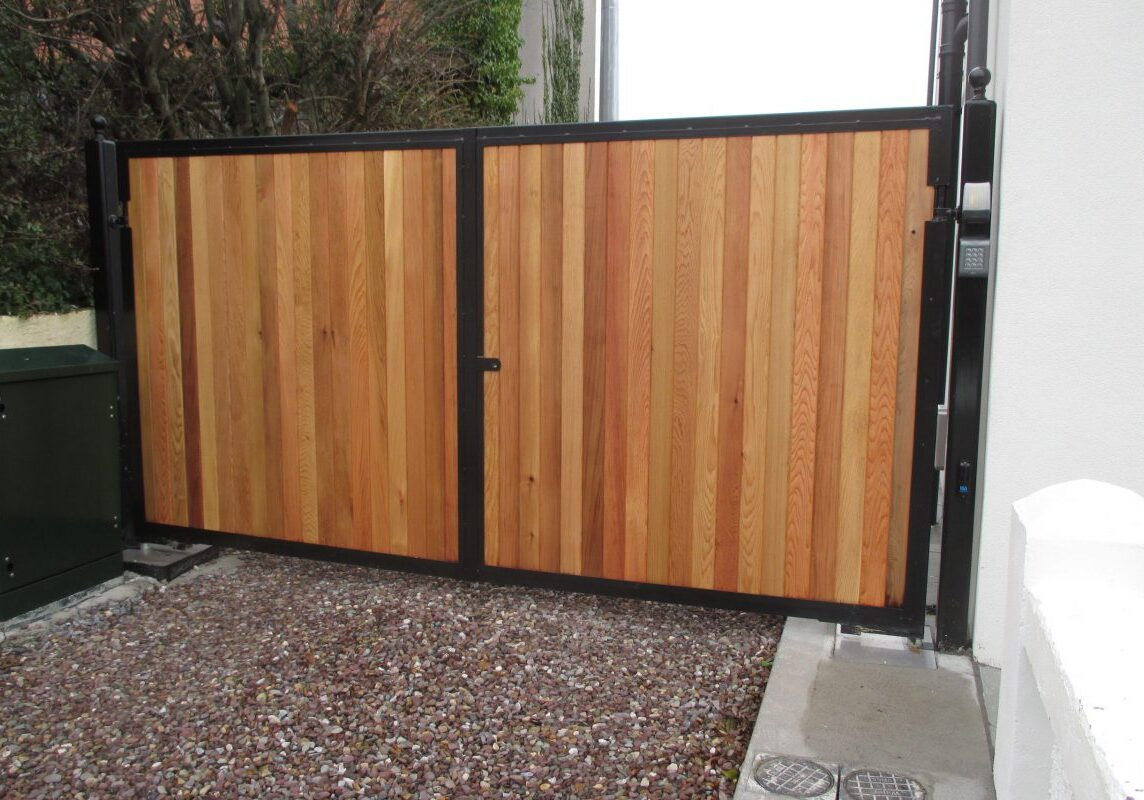 Cedar panelled gate, frame galvanised and finished in black, Salthill, Galway City.